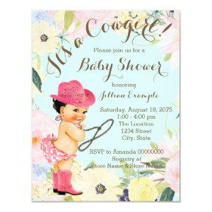Watercolor Floral Cowgirl Baby Shower Invitation