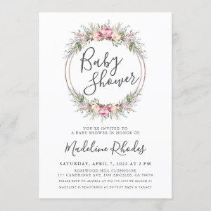 Watercolor Floral Lush Baby Shower Invitation