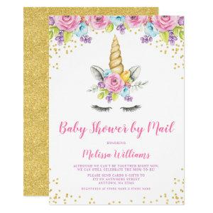 Watercolor Floral Unicorn Baby Shower by Mail Invitation