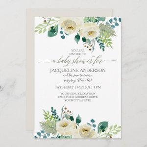 Watercolor Gender Neutral Baby Shower White Floral