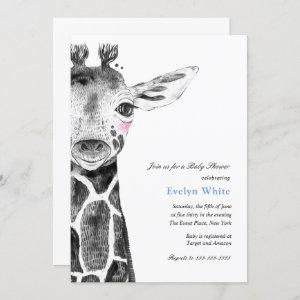 Watercolor Giraffe Baby Shower invitation
