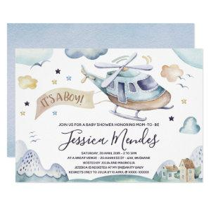 Watercolor Helicopter Baby Boy Shower Invitation