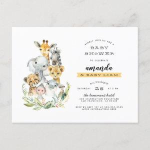 Watercolor Jungle Animals Orange Baby Shower Invitation Postcard