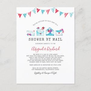 Watercolor Letters Long Distance Shower By Mail Invitation Postcard