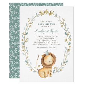 Watercolor Lion Prince It's a Boy Baby Shower Invitation