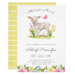 Watercolor Little Lamb Spring Meadow Baby Shower Invitation