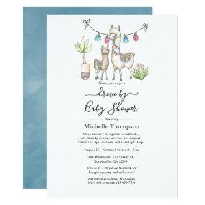 Watercolor Llama themed Drive By Baby Shower Invitation