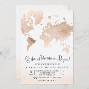 Watercolor Map Travel Baby Shower Invitation