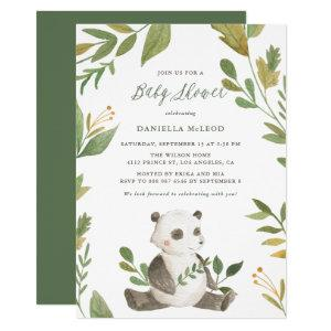 Watercolor Panda with Foliage Wreath Baby Shower Invitation