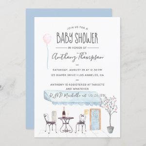 Watercolor Paris themed Baby Shower invitation
