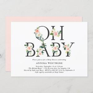 Watercolor Peach Flowers Oh Baby! Baby Shower