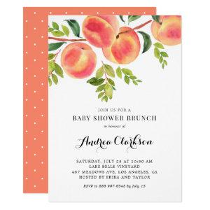 Watercolor Peaches Summer Baby Shower Brunch Invitation