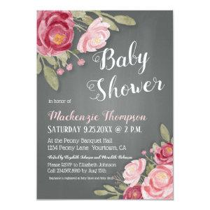 Watercolor Peonies with Chalkboard background Invitation