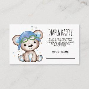 Watercolor Pilot Teddy Bear Diaper Raffle Enclosure Card