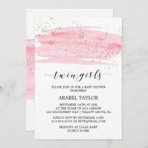 Watercolor Pink and Gold Twin Girls Baby Shower Invitation