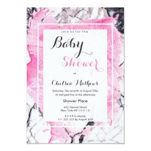 Watercolor pink black mable girl Baby Shower Invitation
