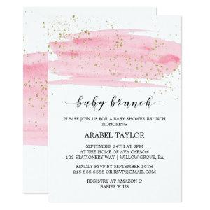 Watercolor Pink Blush & Gold Sparkle Baby Brunch Invitation
