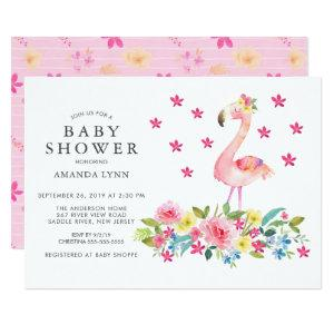 Watercolor Pink Floral Flamingo Baby Girl Shower Invitation