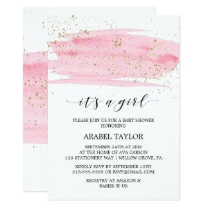 Watercolor Pink & Gold It's A Girl Baby Shower Invitation