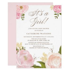 Watercolor Pink Peonies It's a Girl Baby Shower Invitation