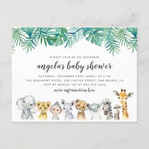 Watercolor Safari Animals Modern Baby Shower Invitation Postcard
