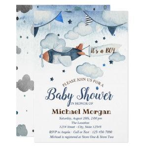 Watercolor Stars,Clouds,Airplane Baby Shower Invitation