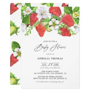 Watercolor Strawberries Botanical Baby Shower Invitation