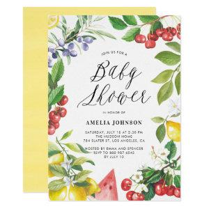 Watercolor Summer Fruits Floral Baby Shower Invitation