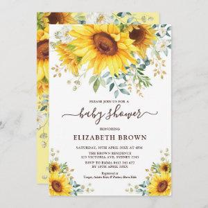 Watercolor Sunflower Greenery Garden Baby Shower Invitation