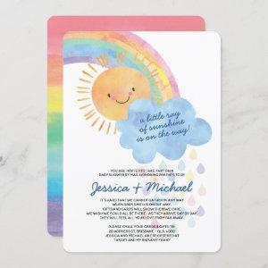 Watercolor Sunshine Rainbow Baby Shower by Mail Invitation