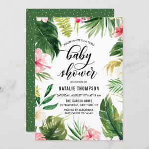 Watercolor Tropical Floral Frame Coed Baby Shower