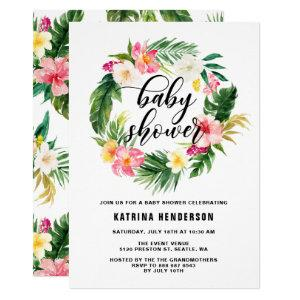 Watercolor Tropical Flowers Wreath Baby Shower Invitation