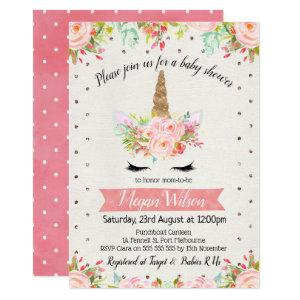 Watercolor Unicorn Floral Baby Shower Invitation