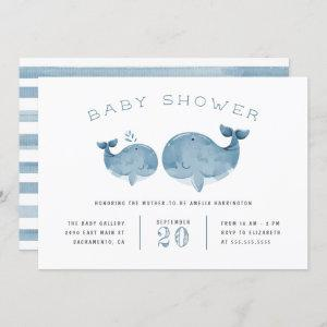 Watercolor Whale Boy's Blue Baby Shower Invitation