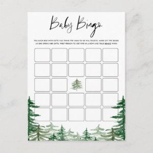 Watercolor Woodland Forest Baby Shower Bingo Card