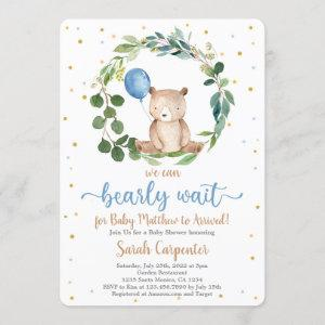 We Can Bearly Wait Baby Shower Boy