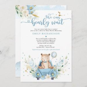 We Can Bearly Wait Teddy Bear Drive By Baby Shower Invitation