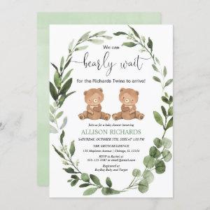 We can bearly wait twins teddy bear baby shower invitation