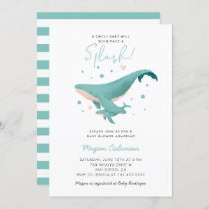 Whale Baby Shower Blue Nautical