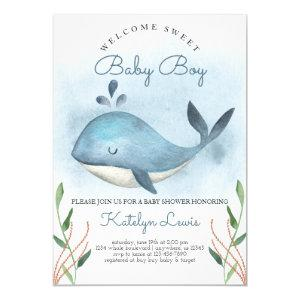 Whale Baby Shower Invitation for Baby Boy