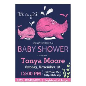 Whale Baby Shower Invitation (girl)