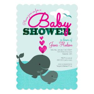 Whale Baby Shower Invitation - Girl