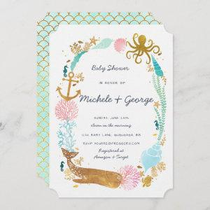 Whale Nautical Baby Shower Invitation