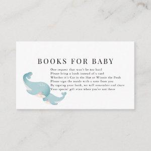 Whales Blue Baby Shower Book Request Enclosure Card