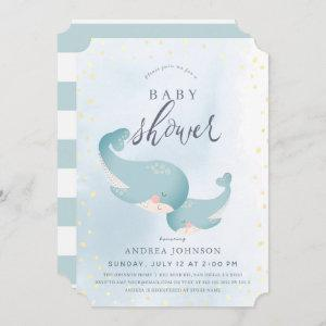 Whales Watercolor Blue Boy Baby Shower Invitation