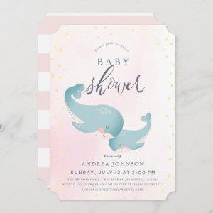 Whales Watercolor Pink Girl Baby Shower Invitation
