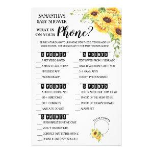What is on your Phone baby shower game card