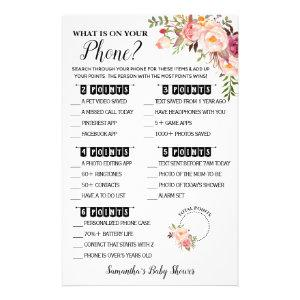 What is on your Phone Pink Baby Shower Game Card