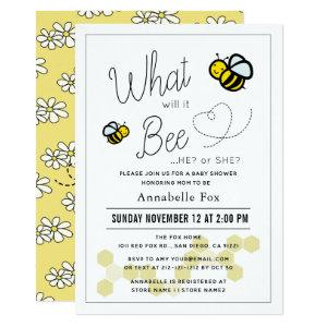 What will it Bee Gender Reveal White Baby Shower Invitation