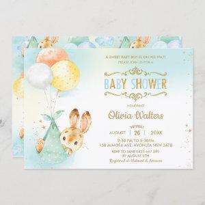 Whimsical Bunny Rabbit Balloons Baby Shower Boy Invitation